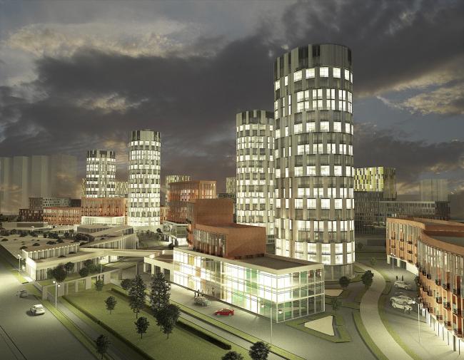 Архитектурно-градостроительная концепция застройки в Нагатинской пойме. Проект, 2016 © ПТАМ Виссарионова
