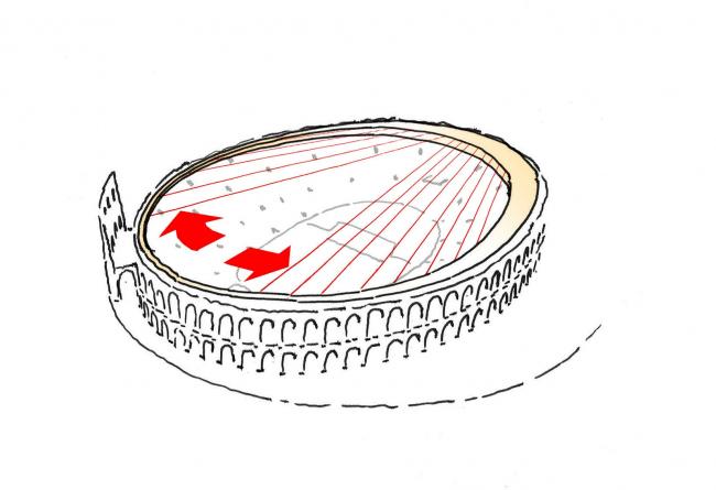 Тросы сдвигаются к компрессионному кольцу, чтобы занять исходное положение © gmp Architekten