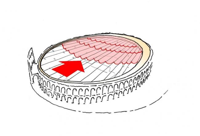 Мембрана движется в исходное положение © gmp Architekten