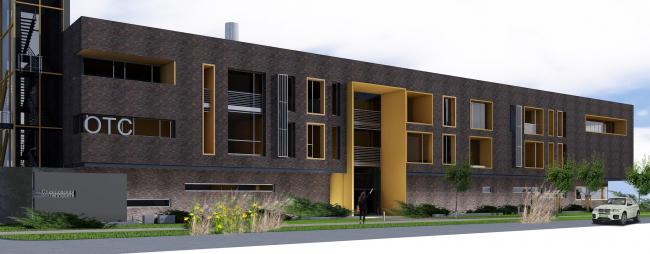 Административно-офисное здание с водогрейный котельной в г. Одинцово. Вид со стороны ул. Западная. Проект, 2015 © Архстройдизайн