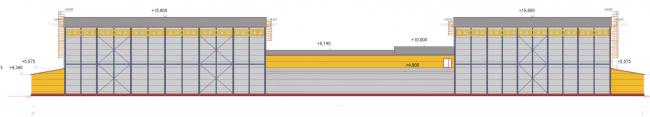 Реконструкция кондитерско-булочного комбината «Простор». Фасад бытового и производственного корпусов. Фасад. Проект, 2015 © Архстройдизайн