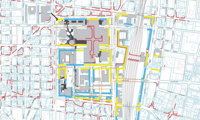 Концепция «активного цоколя». Схема использования цокольных этажей. Жёлтым выделено: магазины и мастерские (предложение), голубым: прочие общественные функции (предложение), красным: существующее использование. © AUC