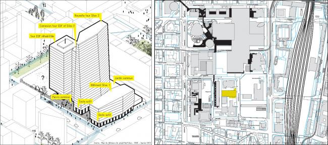 Комплекс башен Silex 1 (арх. AIA), Silex 2 (ma architectes) и EDF. © AUC