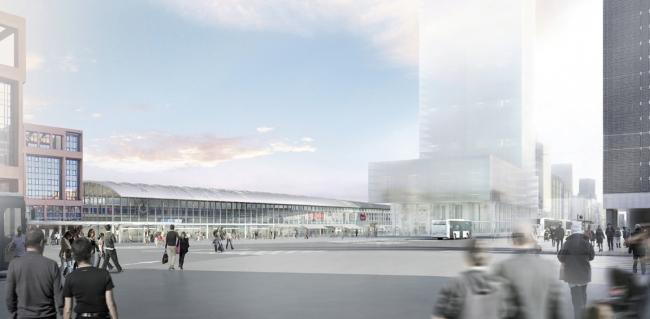 Проект реконструкции вокзала Пар-Дьё. Вид с запада © Arep