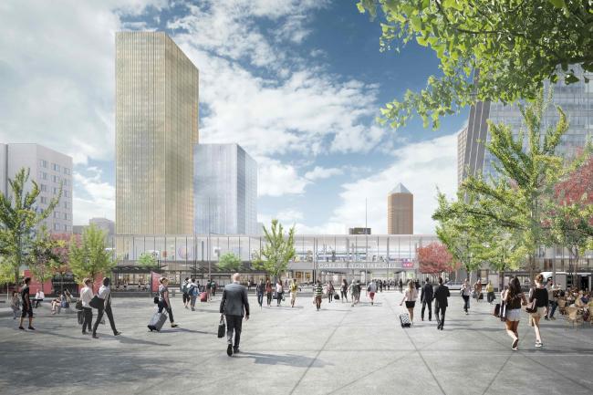 Проект реконструкции вокзала Пар-Дьё. Вид с востока © Arep