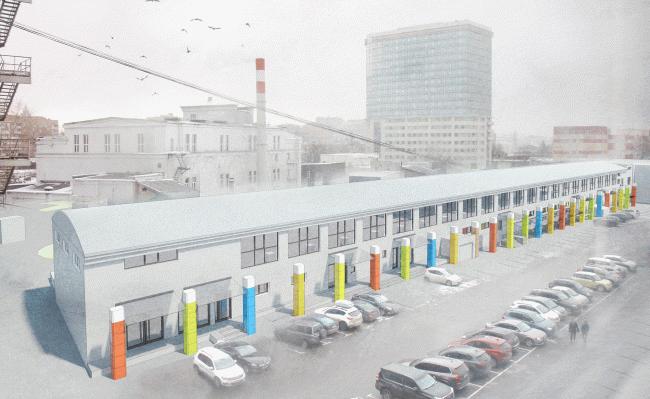 Концепция фасадного решения и внутреннего оформления помещений на территории Центра городской культуры «Правда». 1 место в конкурсе © «Поле-дизайн»