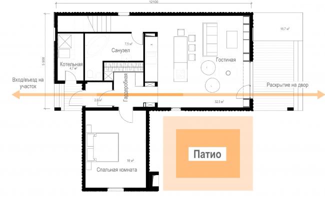 Русский стиль. Стандарт. План 1 этажа © Ilya Samsonov Architecture & Design