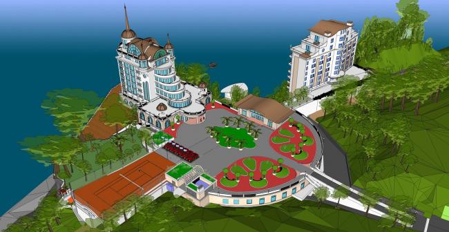 3D-модель комплекса Castello Mare Hotel & Wellness Resort, проект, 2013 © Лев Нодельман