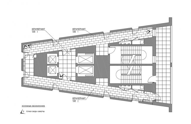 Жилой комплекс V-House. Общественные зоны. План пола типового этажа © Архитектурная мастерская «Сергей Киселев и Партнеры»