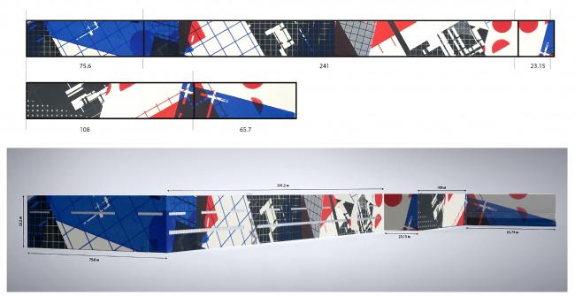 Эскиз росписи фасада здания Выксунского металлургического завода. Автор: Zedz, Нидерланды