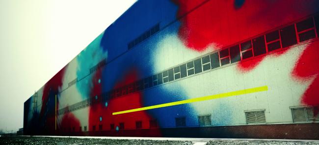 Эскиз росписи фасада здания Выксунского металлургического завода. Автор: Серхио Идальго Паредес (Sergio Hidalgo Paredes), Испания