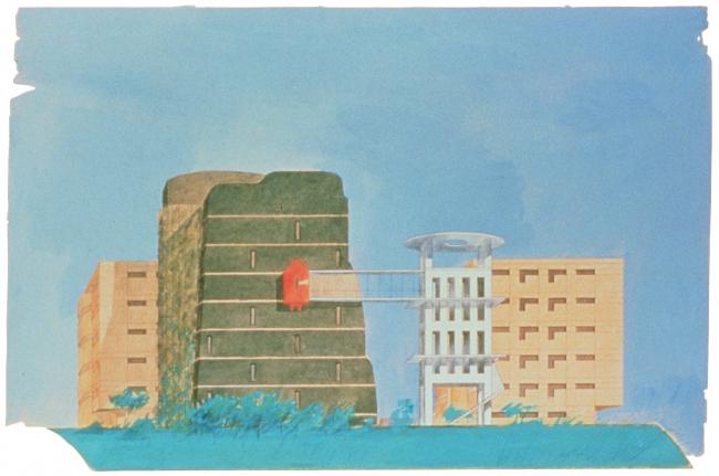 Проект жилого комплекса в Фукуоке, Япония. 1989-1991. Эскиз © Кристиан Портзампарк