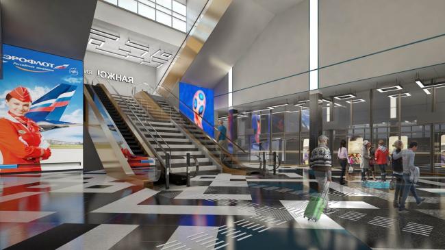 Дизайн станций межтерминального перехода аэропорта Шереметьево, проект. Изображение предоставлено RMJM