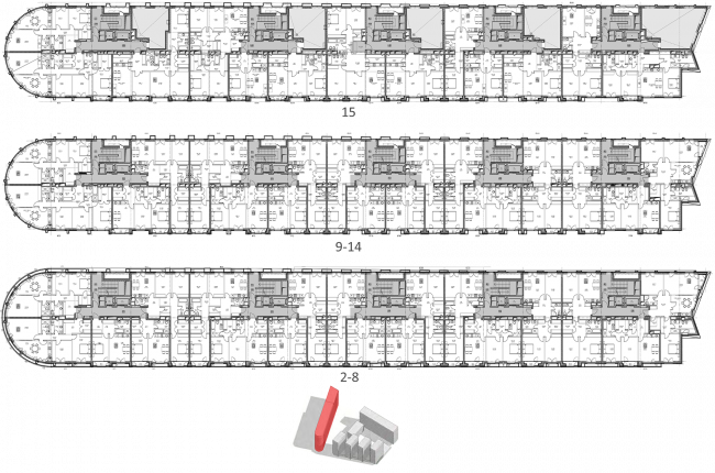 Жилой комплекс «Полуостров Зил». Лот 1. Планы жилых этажей © Сергей Скуратов ARCHITECTS