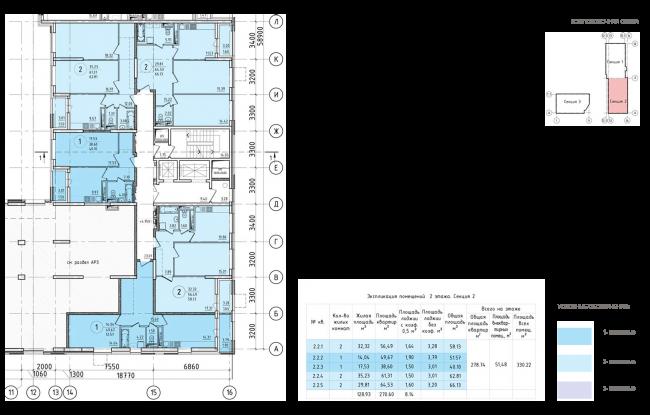 ЖК на 11-й Парковой улице. Схема плана типового этажа секции №2 2 этажа © ГК «ОЛИМПРОЕКТ»