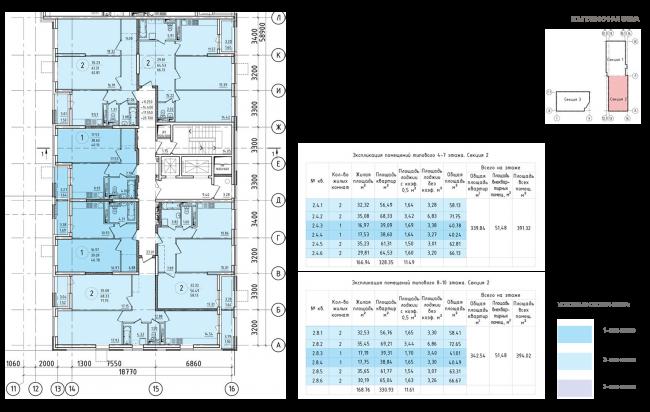 ЖК на 11-й Парковой улице. Схема плана типового этажа секции №2 4-10 этажа © ГК
