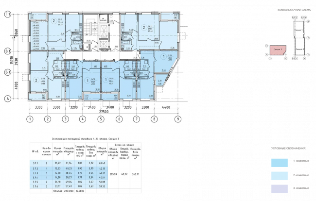 ЖК на 11-й Парковой улице. Схема плана типового этажа секции №3 с 4 по 14 этажи © ГК «ОЛИМПРОЕКТ»