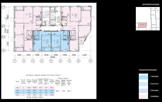 ЖК на 11-й Парковой улице. Схема плана типового этажа секции №3 с 15 по 19 этажи © ГК «ОЛИМПРОЕКТ»