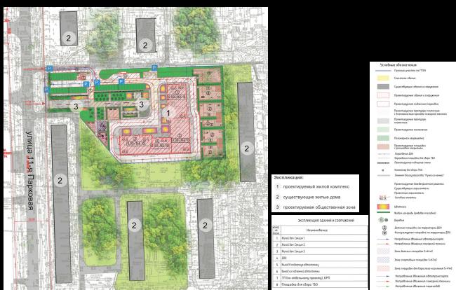 ЖК на 11-й Парковой улице. Схема планировочной организации земельного участка, совмещенная со схемой транспортной организации территории © ГК «ОЛИМПРОЕКТ»