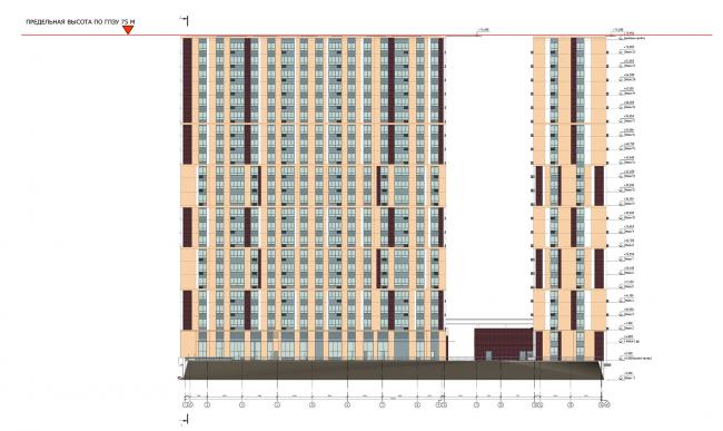 ЖК «Пикассо». Схема фасада в осях 1-16 © ГК «ОЛИМПРОЕКТ»