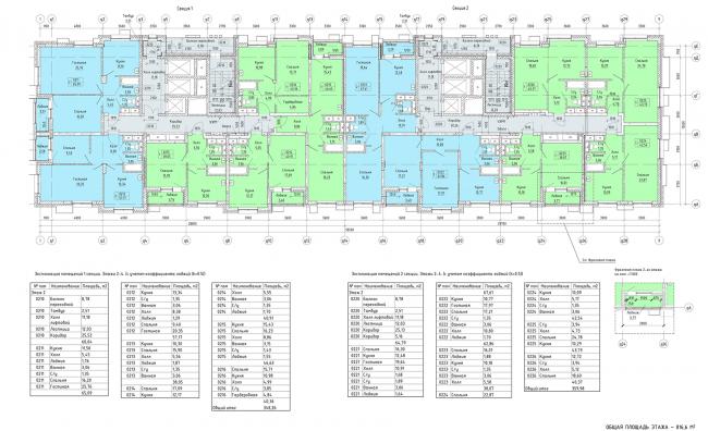 ЖК «Пикассо». Схема плана 1,2 секция 2-4 этажа © ГК «ОЛИМПРОЕКТ»