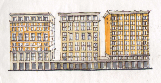 Жилой комплекс ЗИЛАРТ.  Эскиз © Евгений Герасимов и партнеры