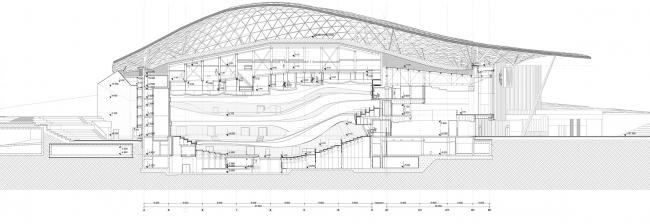 Филармония в парке «Зарядье». Разрез 1-1 © ТПО «Резерв»