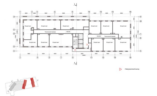 ЖК на улице Зорге. План этажа на отметке +68,250. Блок 1,2  © ГК «ОЛИМПРОЕКТ»