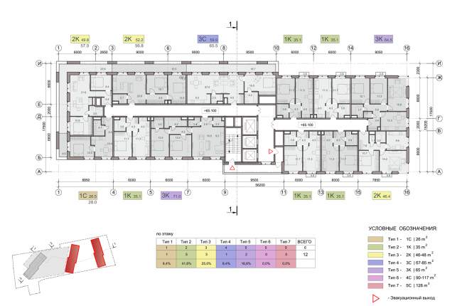 ЖК на улице Зорге. План этажа на отметке +65,100. Блок 1,2  © ГК «ОЛИМПРОЕКТ»
