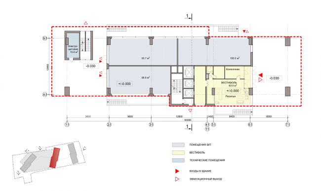ЖК на улице Зорге. План 1 этажа, блок 2 © ГК «ОЛИМПРОЕКТ»