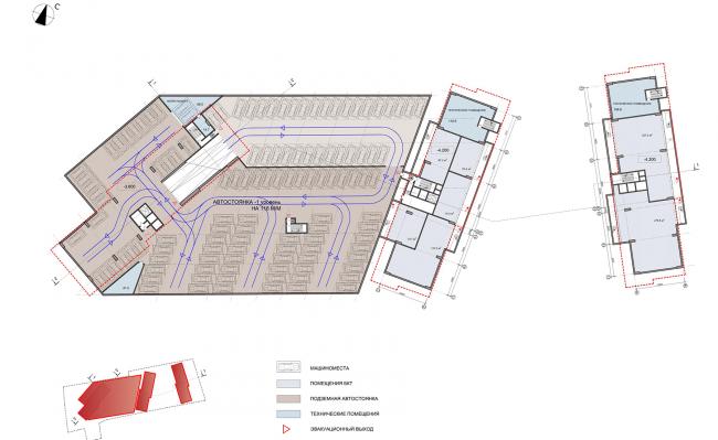ЖК на улице Зорге.  План подземного этажа на отметке -3,8 © ГК «ОЛИМПРОЕКТ»