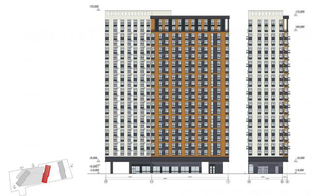 ЖК на улице Зорге. Фасады в осях 17-1, блок 2 © ГК «ОЛИМПРОЕКТ»