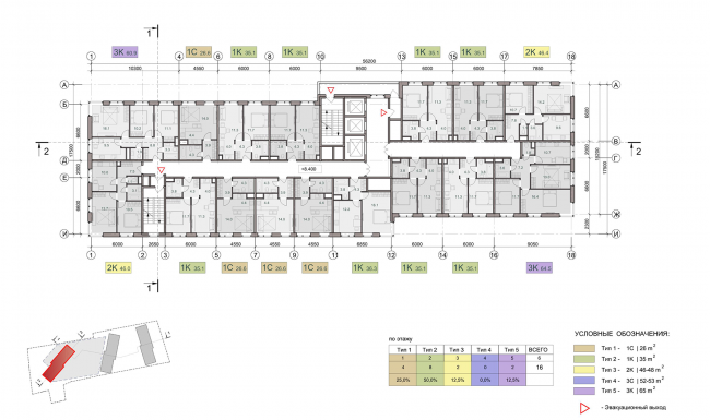 ЖК на улице Зорге. План этажа на отметке +8,400. Блок 3 © ГК «ОЛИМПРОЕКТ»