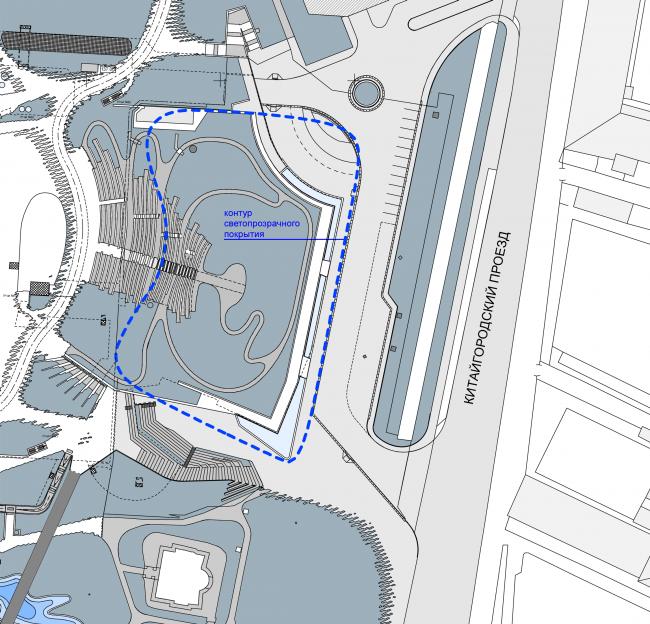 Ситуационный план, на котором хорошо видно расположение скамей атриума на кровле. Филармония в парке «Зарядье». Проект, 2016 © ТПО «Резерв»