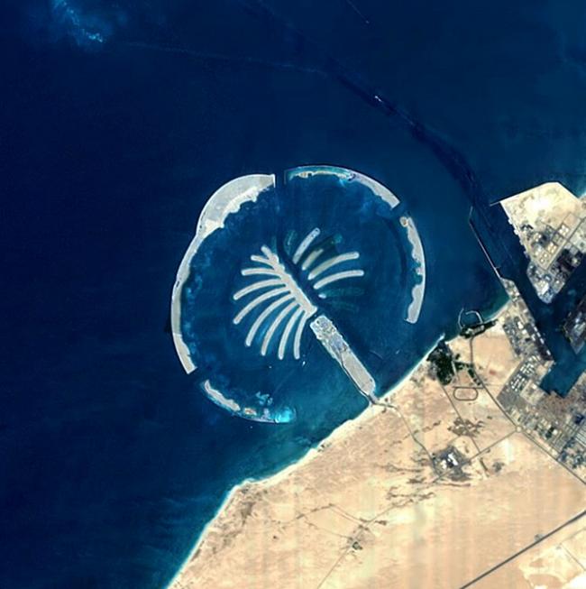 Архипелаг Пальма Джебель-Али, снимок со спутника. Фотография находится в публичном доступе