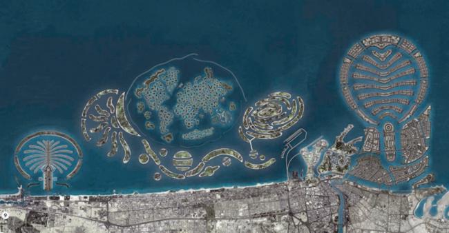 Пальмовые острова и архипелаги «Мир» и «Вселенная», проектный обзорный вид. Автор: Tobias Karlhuber. Изображение находится в публичном доступе