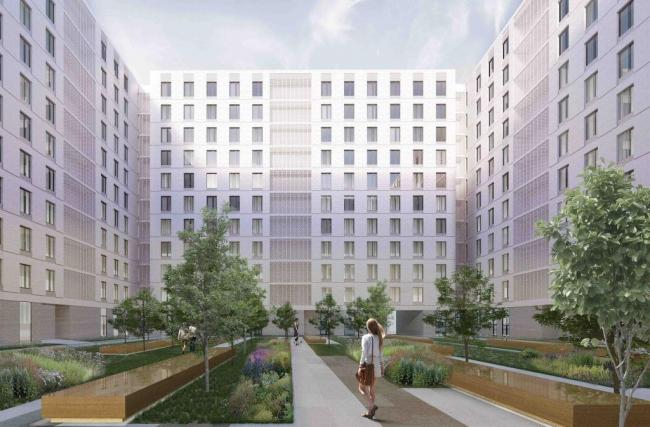 Многофункциональный жилой комплекс на Симоновской набережной. Квартальный блок. Вид со стороны двора © «Цимайло, Ляшенко и партнеры»