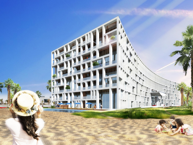 Проект PalmJumairahCommunity. Вид с пляжа © «ГрандПроектСити»