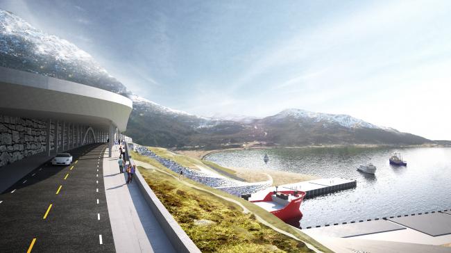 Тоннель для кораблей через полуостров Стад. Изображение: Norwegian Coastal Administration/Snøhetta