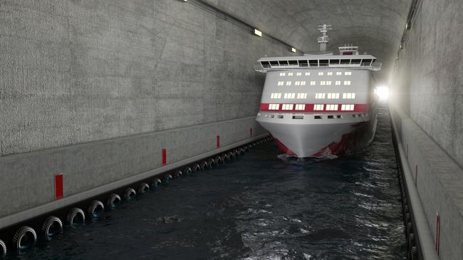 Тоннель для кораблей через полуостров Стад. Изображение: Appex/Norwegian Coastal Administration