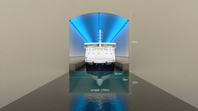 Тоннель для кораблей через полуостров Стад. Изображение: Kystverket