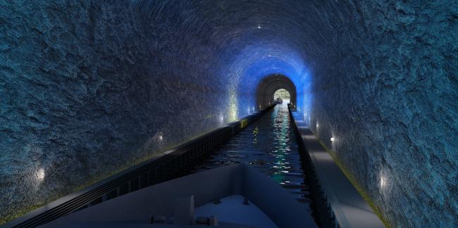 Тоннель для кораблей через полуостров Стад. Изображение: Snøhetta/Kystverket