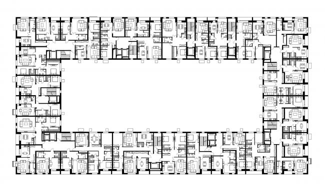 Жилой комплекс  «ASTRA». План 5 этажа © SYNCHROTECTURE