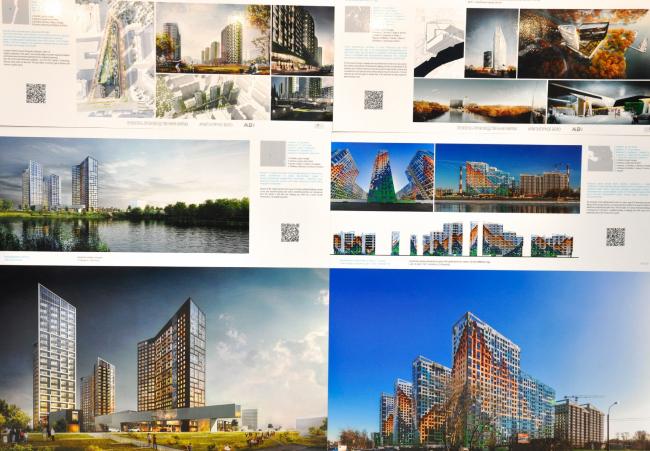 Жилые комплексы по проектам бюро «А.Лен». Переснято со стенда, 2017