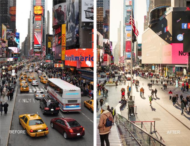 Таймс-сквер до и после реконструкции. Изображение: NYC DOT / © Michael Grimm