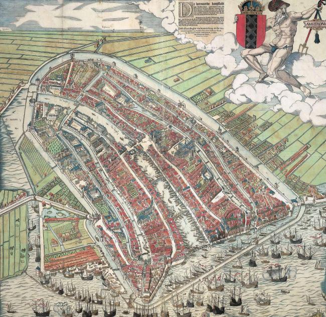 Карта Амстердама,  1544 г. ©  Cornelis Anthonisz.  – www.cultuurwijzer.nl :  Home  :  Info , Общественное достояние,  Ссылка