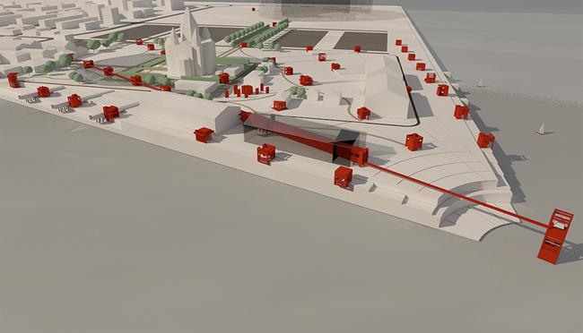 «Проекция Кремля». Схема расположения павильонов. Вид со стороны Оки © Ирина Рыжевская