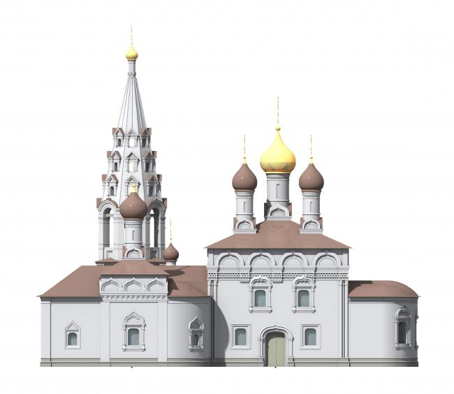 Церковь Воскресения Христова на Остоженке. Южный фасад, вариант 2013 года © Алексей Котов