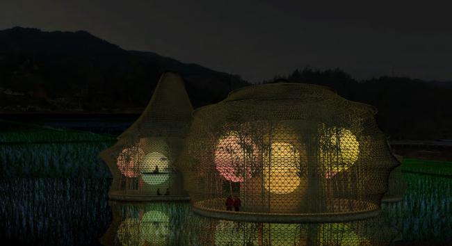 Бамбуковые постройки Анны Херингер. Вид ночью © Studio Anna Heringer