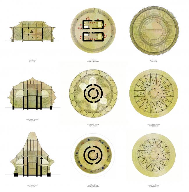 Бамбуковые постройки Анны Херингер. Планы © Studio Anna Heringer